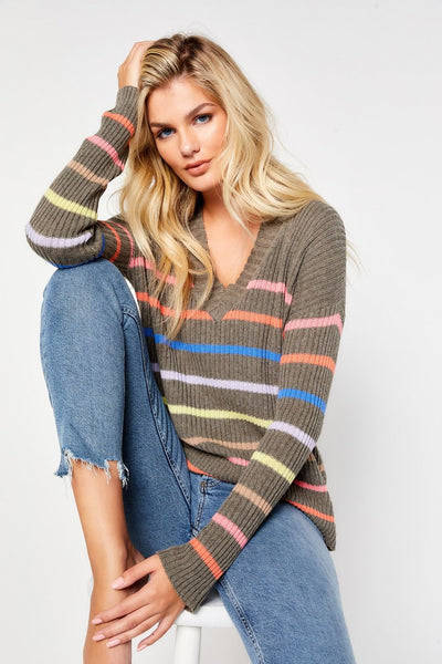 Lisa Todd Fine Line Stripe Sweater in Reed, Available at Village Vogue.