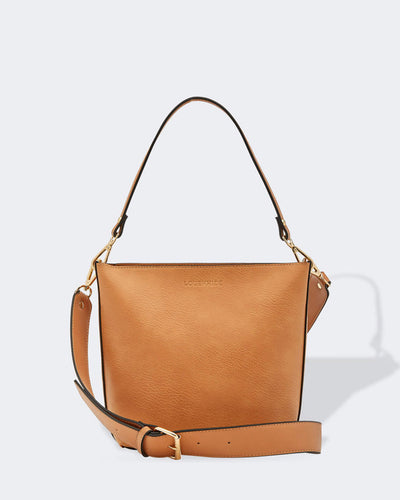 Louenhide Charlie Over the Shoulder or Crossbody Vegan Bag in Nutmeg, Village Vogue.