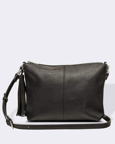 Louenhide Daisy Crossbody Bag Black with adjustable strap, Village Vogue.