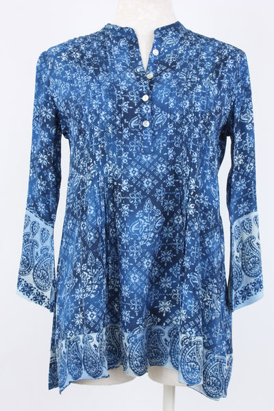 Love Kyla Andee pintucked blouse in blue/