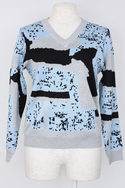 Metric Knits Intarsia Sweater in blue, grey and black.