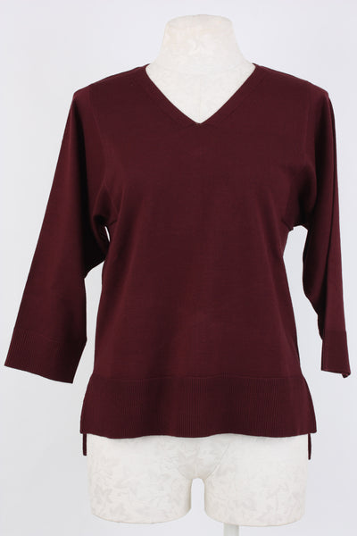 Metric Knits Kimono sleeve sweater in port wine color Village Vogue.