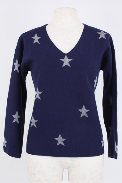 a cozy sweater for the cooler fall days and nights in navy blue V-neck with lurex stars throughout.