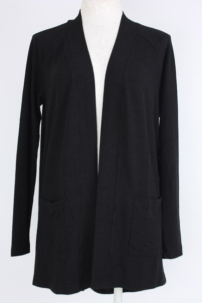 Metric Knits Raglan Sleeve Cardigan with two side pockets in black. Village Vogue