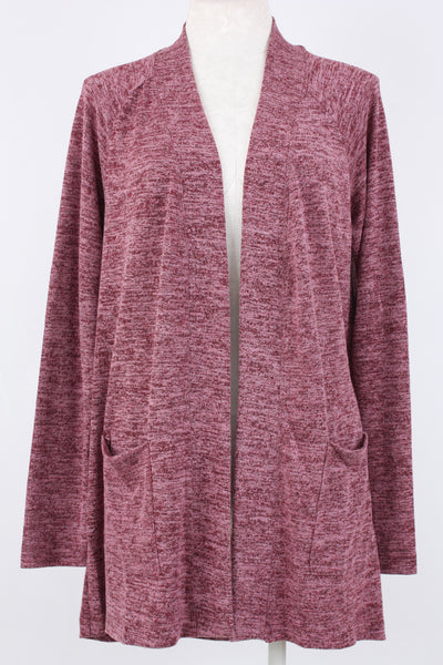 Metric Knits Raglan Sleeve Open Front Cardigan Burgundy. Village Vogue