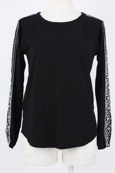 Mododoc Embroidered Sleeve Raglan Top Black Village Vogue.
