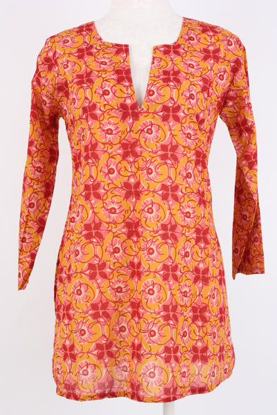 Vine and floral print tunic in orange