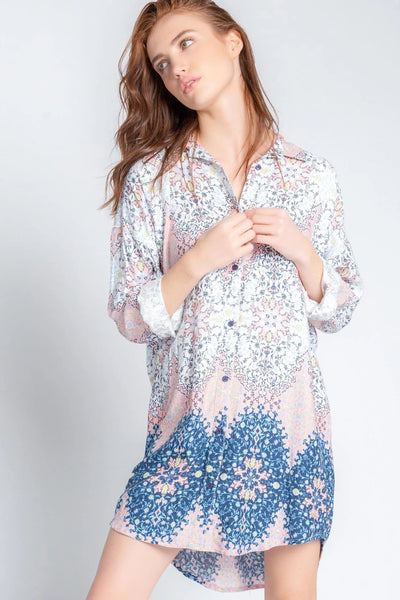 PJ Salvage Boho Babe Nightshirt in coral available at Village Vogue.