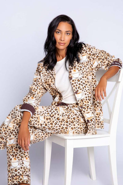 PJ Salvage Cool Beans Flannel PJ Set in Taupe. Village Vogue
