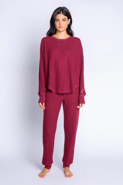 PJ Salvage Flannel Ski Jammie Set in Cranberry at Village Vogue.