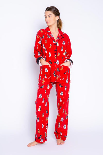 PJ Salvage Happy Howlidays Flannel PJ Set with dog print in red. Village Vogue