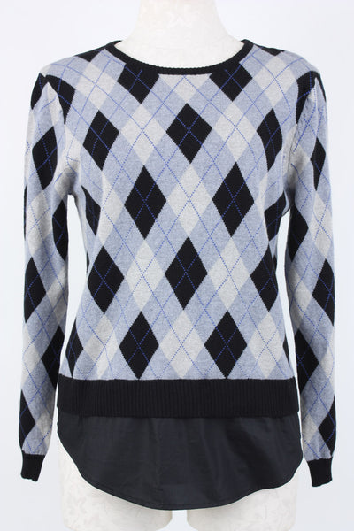 Peace of Cloth Easy Crew Neck Sweater with argyle pattern. Village Vogue