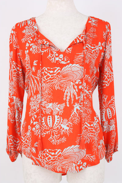 A beautiful reef print tunic in red aqua from Village Vogue