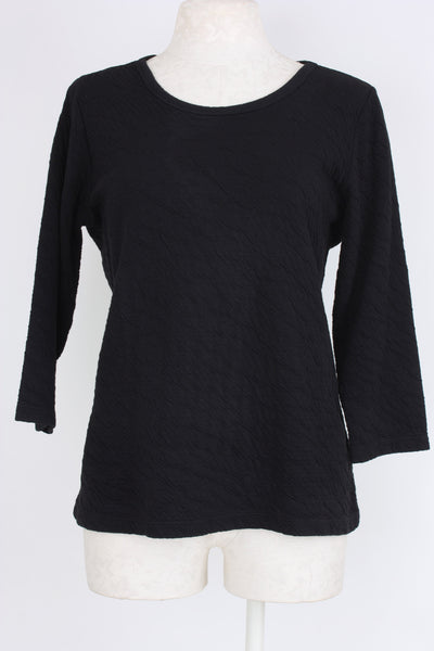 Quilted 3/4 sleeve top in black, Village Vogue