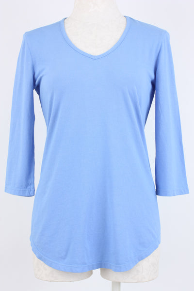 Prairie Cotton V-Neck Top Cool Blue