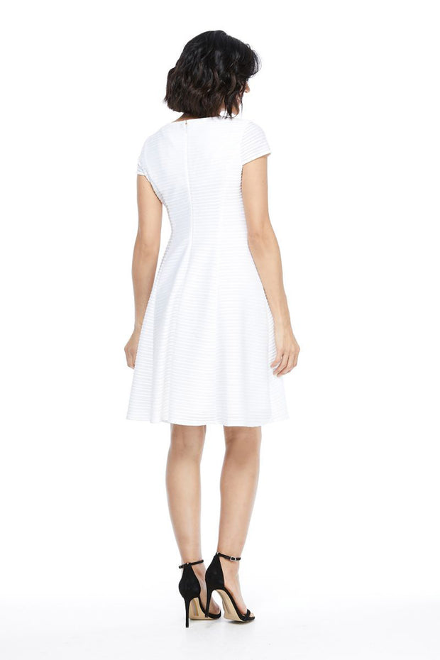 London Times Scoop Neck Fit & Flare Dress White