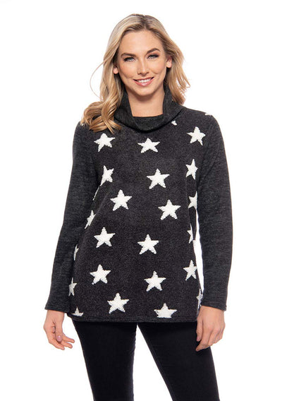Trisha Tyler Fleece Star Sweater, super comfortable in charcoal black.