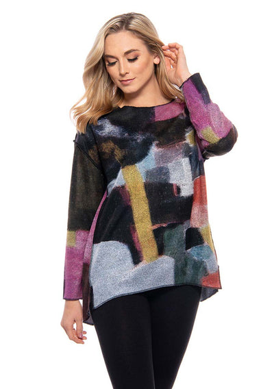 Trisha Tyler High-Low Tunic, with abstract print. Village Vogue.