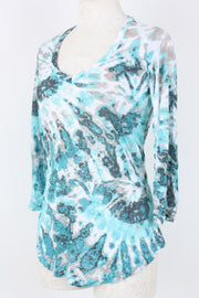 David Cline Crushed V-Neck Top Teal