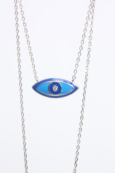 "Village Vogue Sterling silver ""Evil Eye"" oval necklace."