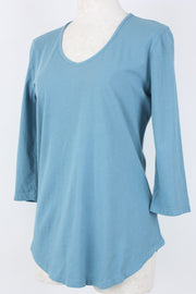Prairie Cotton 3/4 Sleeve Top Azure