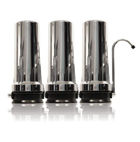 CT-3K Triple Cartridge Countertop Water Filtration System (Chrome)