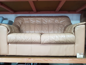 Peach Coloured Leather 2 Seater