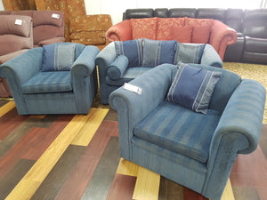 3p Blue Fabric Lounge Suite - 2+1+1