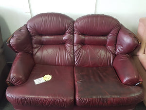 Red Leather 2 Seater