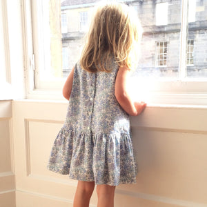 Liberty Print Girls Dress with Bow |Yellow Betsy Print