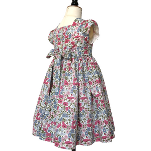 Liberty Print Occasion Party Dress | Baby - Girls |  Pink Poppy & Daisy Print