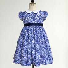 Load image into Gallery viewer, Liberty Print Occasion Dress | Baby - Girls | Peter Pan Collar | Cap Sleeves | Navy Betsy Print