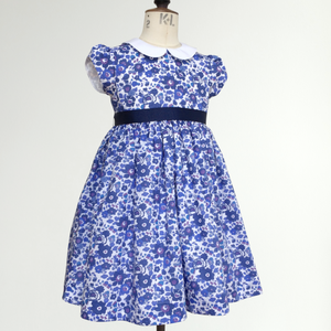 Liberty Print Occasion Dress | Baby - Girls | Peter Pan Collar | Cap Sleeves | Navy Betsy Print