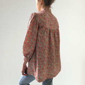 Women's Liberty Tana Lawn Tunic Top Blouse with High Neck | Chive