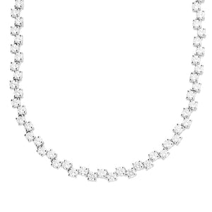 Tennis chain 3mm cubic zirconia up/down collar