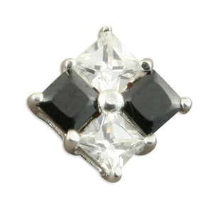 Gents single black and white cubic zirconia chequer stud