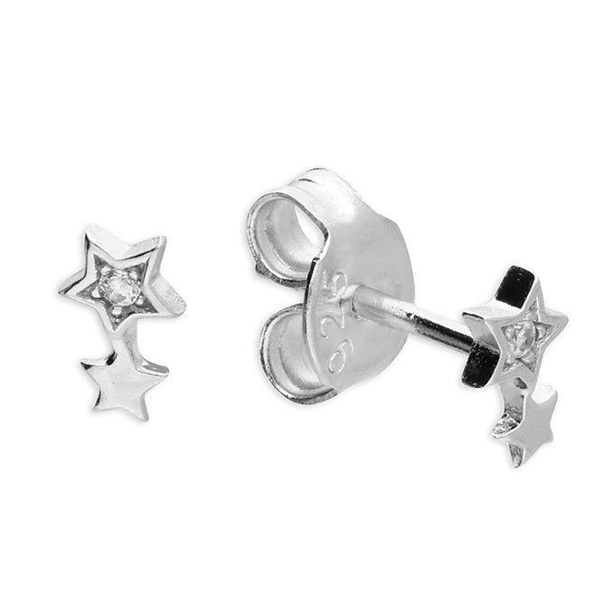 Double star cubic zirconia stud earrings