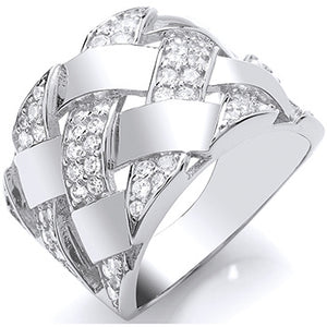 Silver Lattice Design CZ Ring