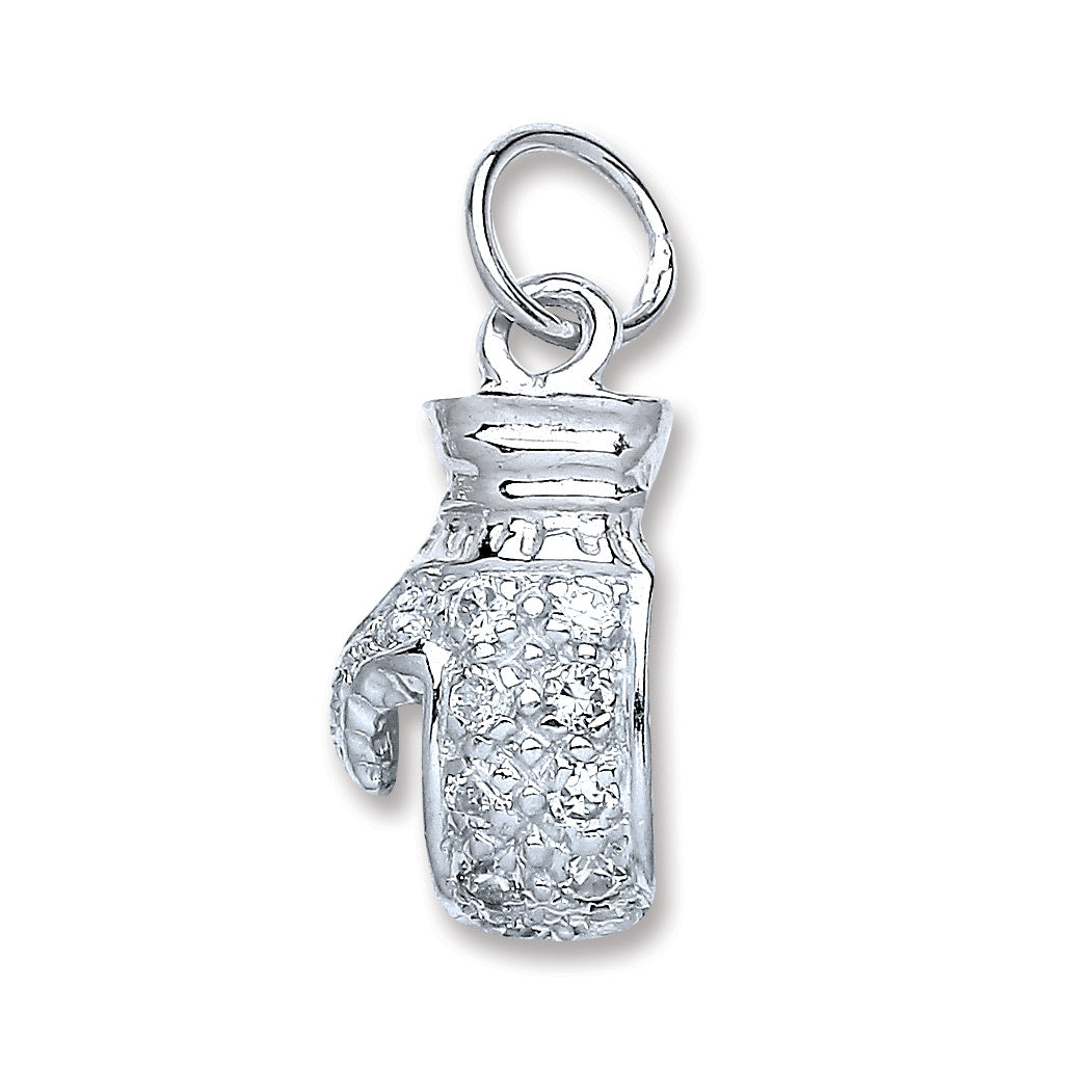Boxing glove pendant paved cubic zirconia diamond