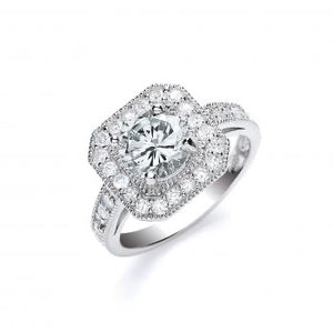 Silver Round Cut with Cz Surrounding & Shoulders Ring