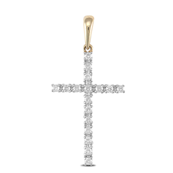 9ct Yellow Gold CZ Cross Pendant - London Fifth Avenue jewellery
