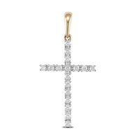 9ct Yellow Gold CZ Cross Pendant