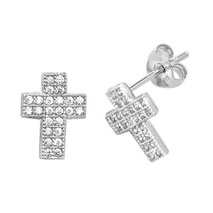 Cross stud earrings - London Fifth Avenue jewellery