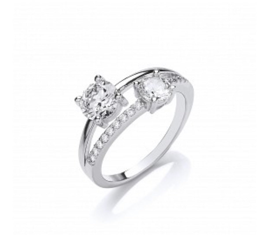 Silver CZ Double Solitaire Ring