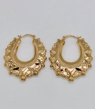 Load image into Gallery viewer, Yellow gold large fancy creole earrings