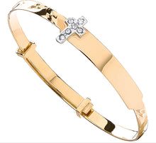 Load image into Gallery viewer, Christening expandable cross bangle