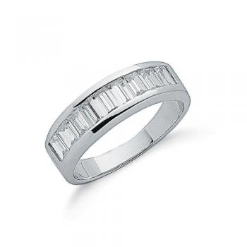 Baguette Cut Cz Half Eternity Ring - London Fifth Avenue jewellery