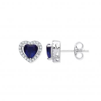 Halo Heart Silver Earrings coloured stone