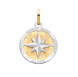 9CT YEL GOLD COMPASS ROSE SMALL PENDANT
