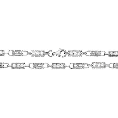 SILVER CZ & GREEK DESIGN CHAIN - London Fifth Avenue jewellery